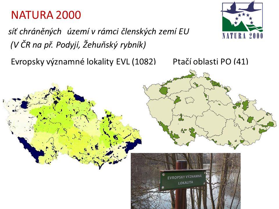 síť chráněných území v rámci členských zemí EU (V ČR na př. Podyjí, Žehuňský rybník) NATURA 2000 Evropsky významné lokality EVL (1082)Ptačí oblasti PO