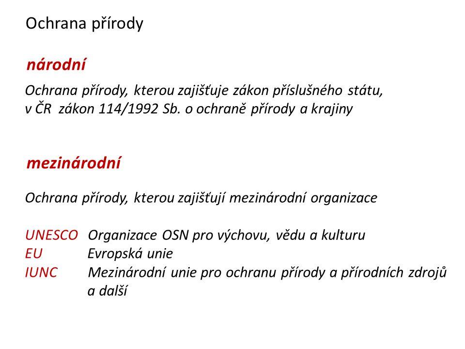 Ochrana přírody národní mezinárodní Ochrana přírody, kterou zajišťuje zákon příslušného státu, v ČR zákon 114/1992 Sb.