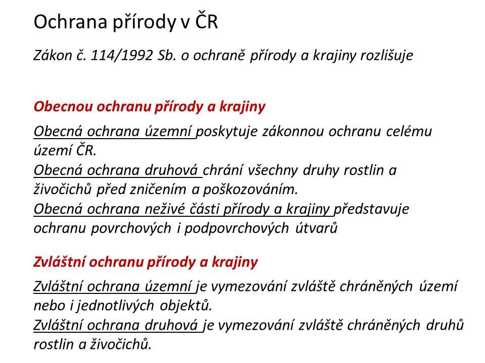 Ochrana přírody v ČR Zákon č.114/1992 Sb.