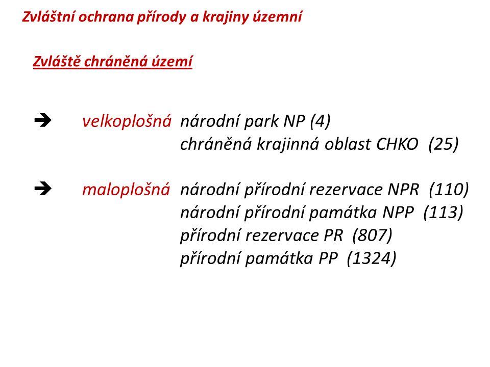  velkoplošnánárodní park NP (4) chráněná krajinná oblast CHKO (25)  maloplošnánárodní přírodní rezervace NPR (110) národní přírodní památka NPP (113