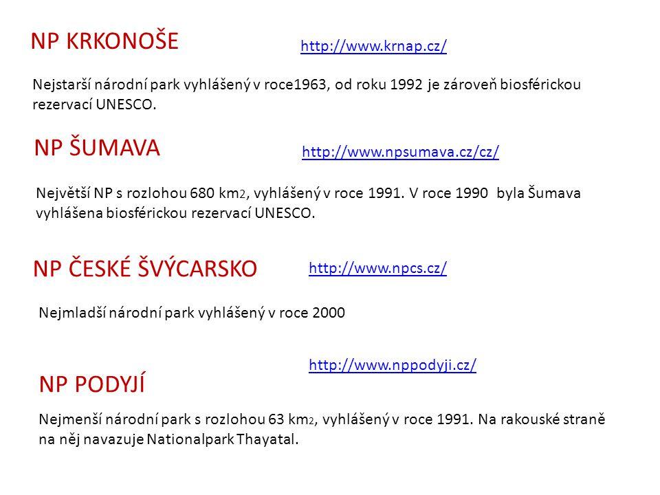 Nejstarší národní park vyhlášený v roce1963, od roku 1992 je zároveň biosférickou rezervací UNESCO. http://www.krnap.cz/ NP KRKONOŠE NP ŠUMAVA Největš