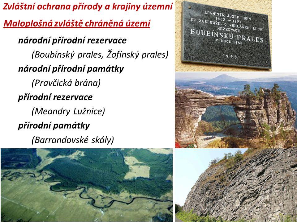 národní přírodní rezervace (Boubínský prales, Žofínský prales) národní přírodní památky (Pravčická brána) přírodní rezervace (Meandry Lužnice) přírodn