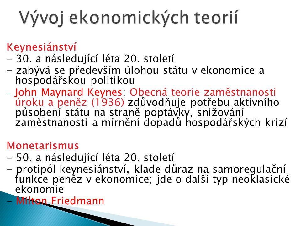 Keynesiánství - 30.a následující léta 20.