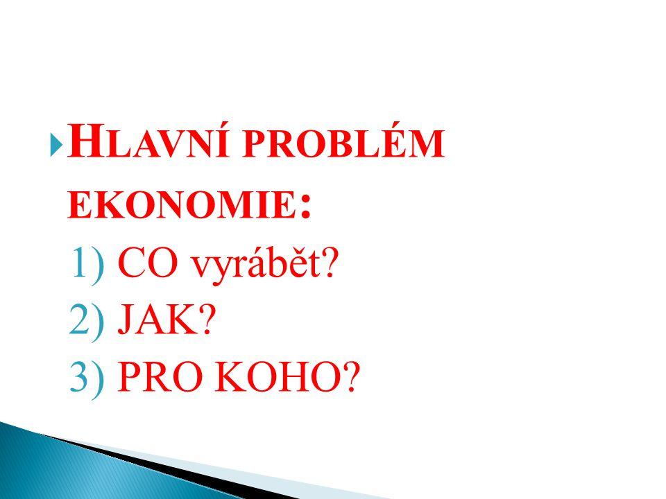  H LAVNÍ PROBLÉM EKONOMIE : 1) CO vyrábět? 2) JAK? 3) PRO KOHO?
