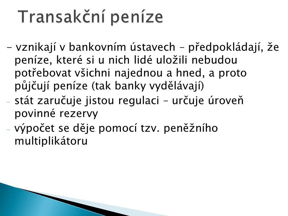 - vznikají v bankovním ústavech – předpokládají, že peníze, které si u nich lidé uložili nebudou potřebovat všichni najednou a hned, a proto půjčují peníze (tak banky vydělávají) - stát zaručuje jistou regulaci – určuje úroveň povinné rezervy - výpočet se děje pomocí tzv.