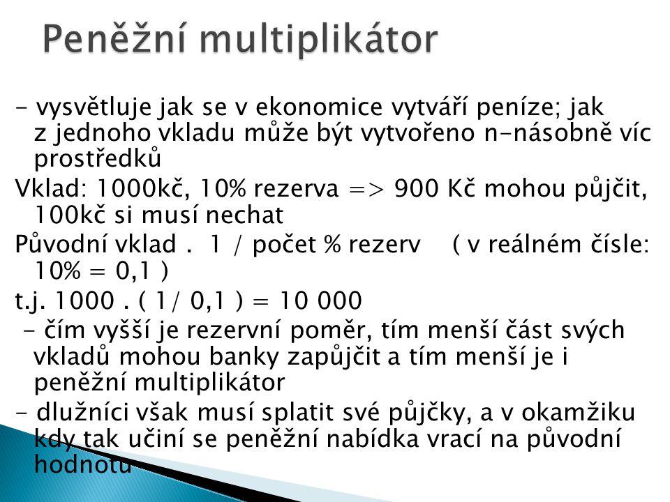 - vysvětluje jak se v ekonomice vytváří peníze; jak z jednoho vkladu může být vytvořeno n-násobně víc prostředků Vklad: 1000kč, 10% rezerva => 900 Kč mohou půjčit, 100kč si musí nechat Původní vklad.