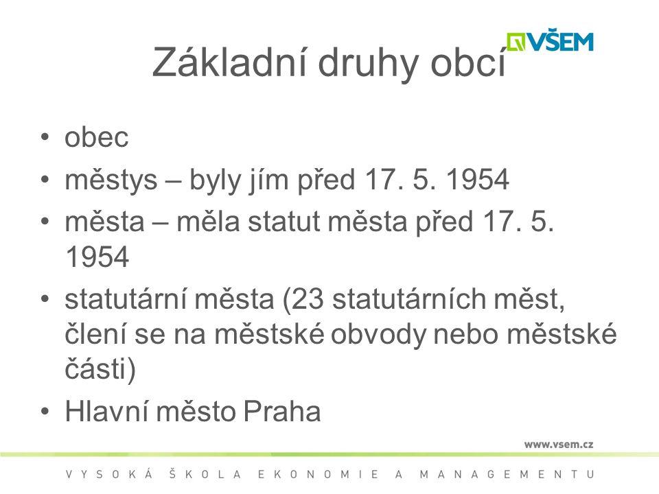 Základní druhy obcí obec městys – byly jím před 17. 5. 1954 města – měla statut města před 17. 5. 1954 statutární města (23 statutárních měst, člení s