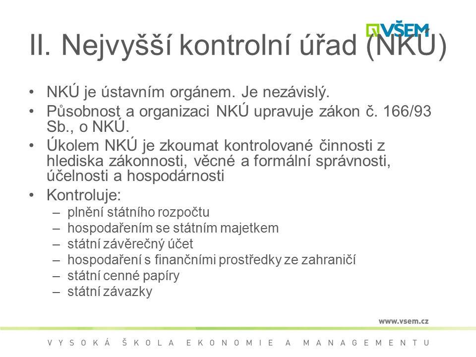 II. Nejvyšší kontrolní úřad (NKÚ) NKÚ je ústavním orgánem. Je nezávislý. Působnost a organizaci NKÚ upravuje zákon č. 166/93 Sb., o NKÚ. Úkolem NKÚ je