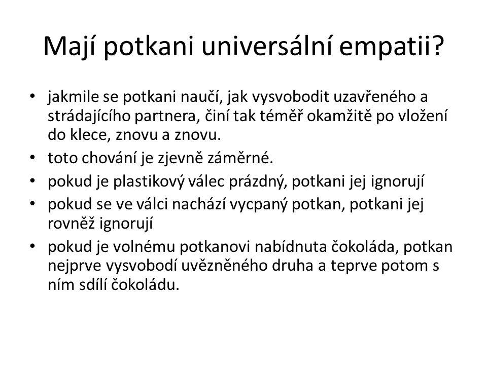 Mají potkani universální empatii? jakmile se potkani naučí, jak vysvobodit uzavřeného a strádajícího partnera, činí tak téměř okamžitě po vložení do k