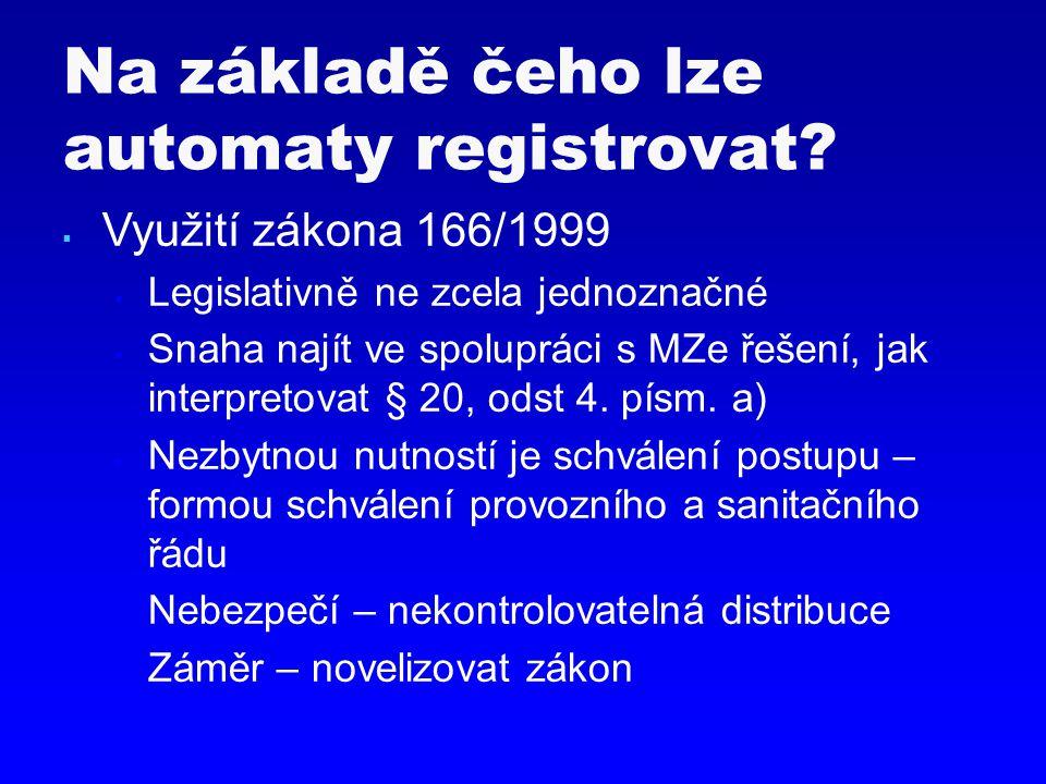  Využití zákona 166/1999  Legislativně ne zcela jednoznačné  Snaha najít ve spolupráci s MZe řešení, jak interpretovat § 20, odst 4. písm. a)  Nez