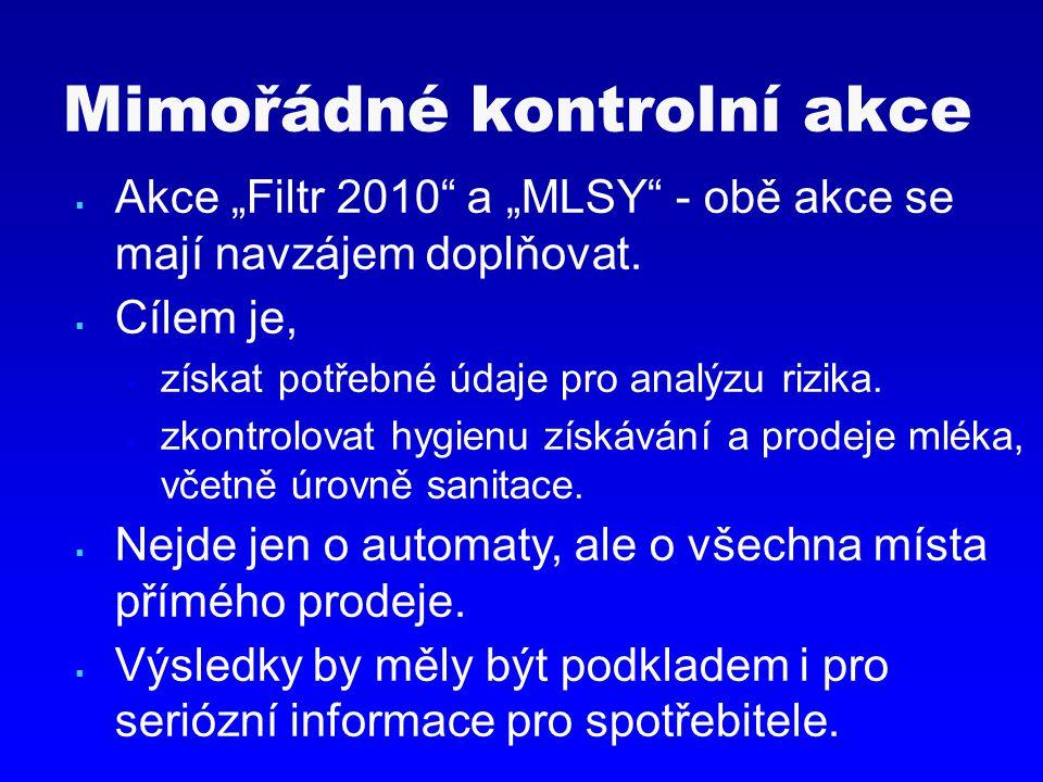 """Mimořádné kontrolní akce  Akce """"Filtr 2010"""" a """"MLSY"""" - obě akce se mají navzájem doplňovat.  Cílem je,  získat potřebné údaje pro analýzu rizika. """
