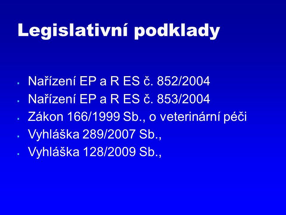  Nařízení EP a R ES č. 852/2004  Nařízení EP a R ES č. 853/2004  Zákon 166/1999 Sb., o veterinární péči  Vyhláška 289/2007 Sb.,  Vyhláška 128/200