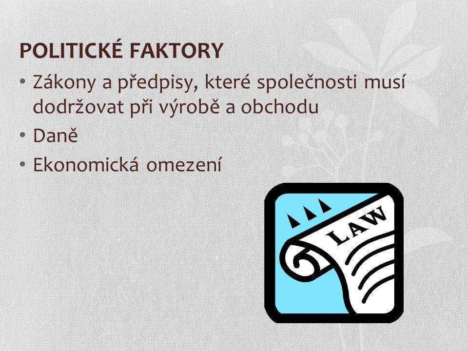 POLITICKÉ FAKTORY Zákony a předpisy, které společnosti musí dodržovat při výrobě a obchodu Daně Ekonomická omezení