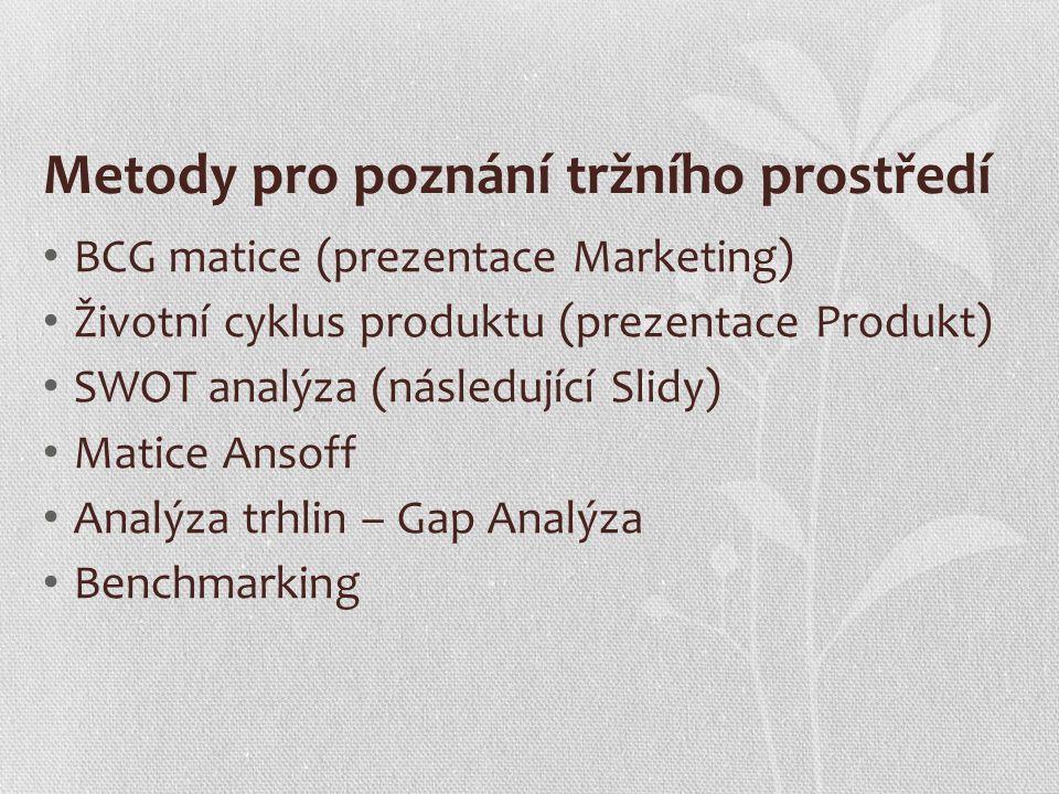 Metody pro poznání tržního prostředí BCG matice (prezentace Marketing) Životní cyklus produktu (prezentace Produkt) SWOT analýza (následující Slidy) M