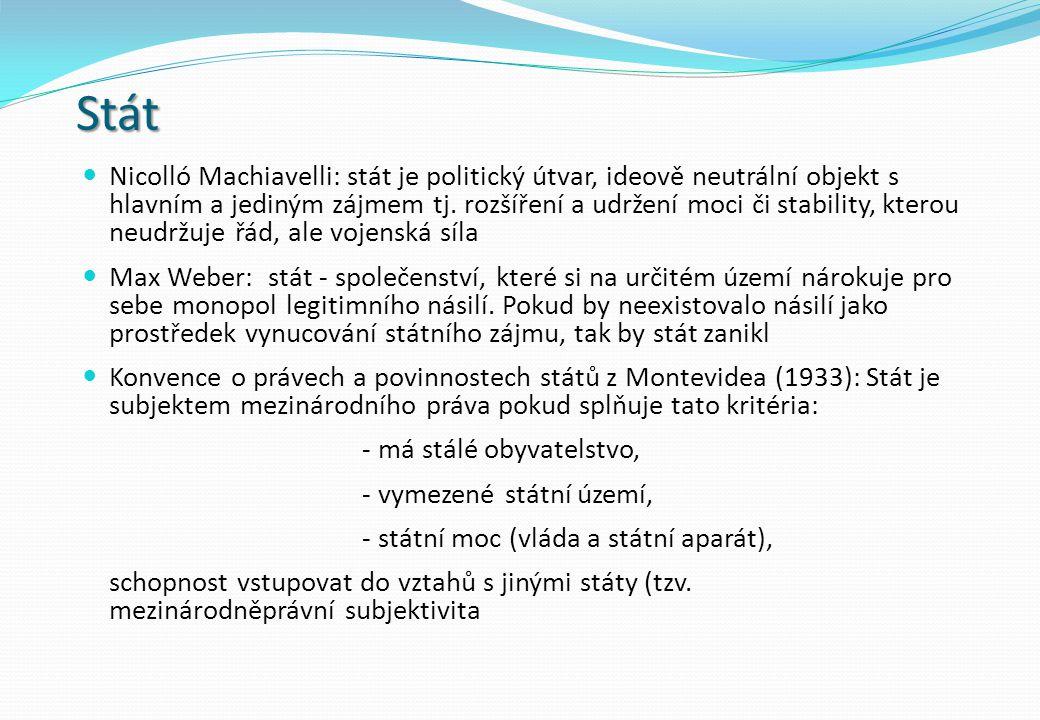 Stát Nicolló Machiavelli: stát je politický útvar, ideově neutrální objekt s hlavním a jediným zájmem tj.