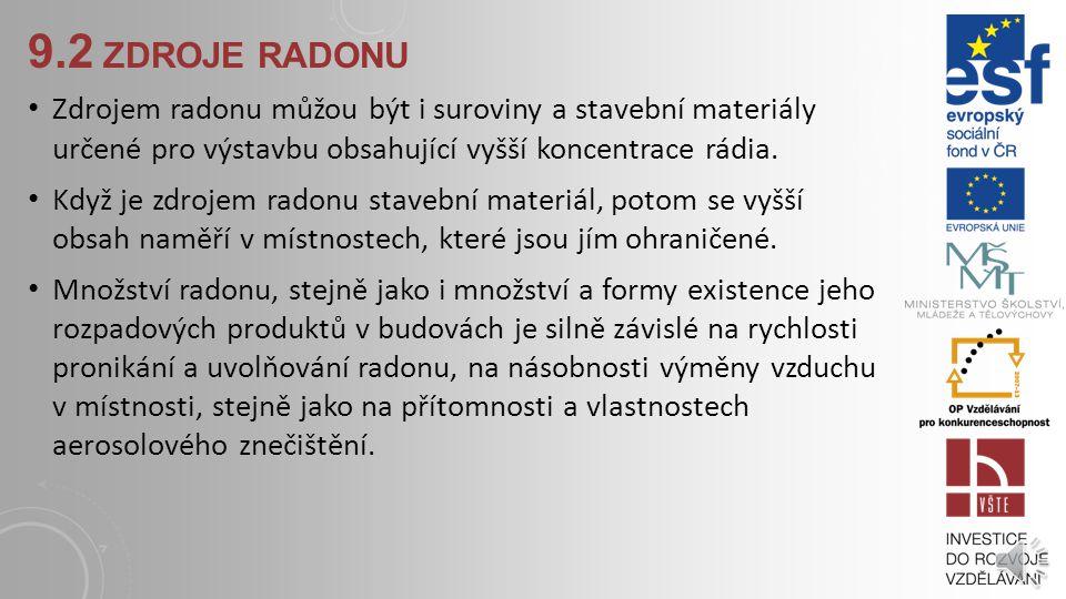 9.2 ZDROJE RADONU Nejvýznamnějším zdrojem radonu v budovách je podloží. Radon uvolněný z hornin se do obytných prostor budov dostává přímým průnikem z
