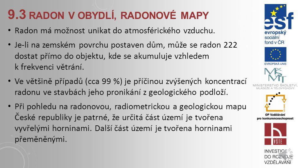 9.2.2 STAVEBNÍ MATERIÁL Dalším zdrojem radonu v pobytových prostorech budov je stavební materiál. Uvnitř materiálu rozpadem rádia vzniká radon, který