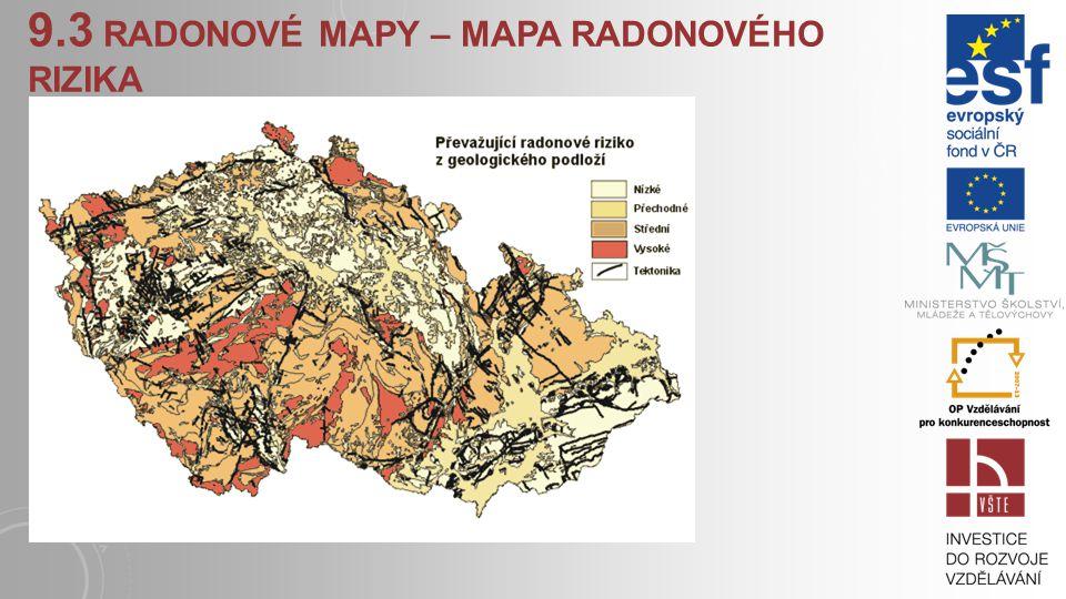 9.3 RADON V OBYDLÍ, RADONOVÉ MAPY Radon má možnost unikat do atmosférického vzduchu. Je-li na zemském povrchu postaven dům, může se radon 222 dostat p