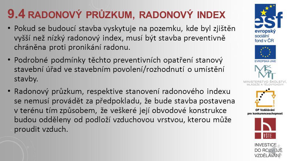 9.4 RADONOVÝ PRŮZKUM, RADONOVÝ INDEX Kvalifikovaně určit koncentraci radonu v základových horninách a zeminách lze pouze radonovým průzkumem pozemku,