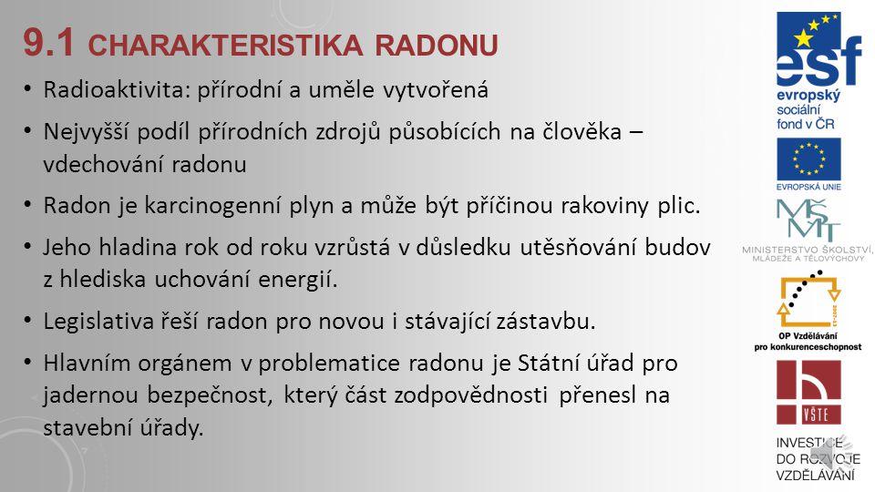 9.1 CHARAKTERISTIKA RADONU Radioaktivita: přírodní a uměle vytvořená Nejvyšší podíl přírodních zdrojů působících na člověka – vdechování radonu Radon je karcinogenní plyn a může být příčinou rakoviny plic.