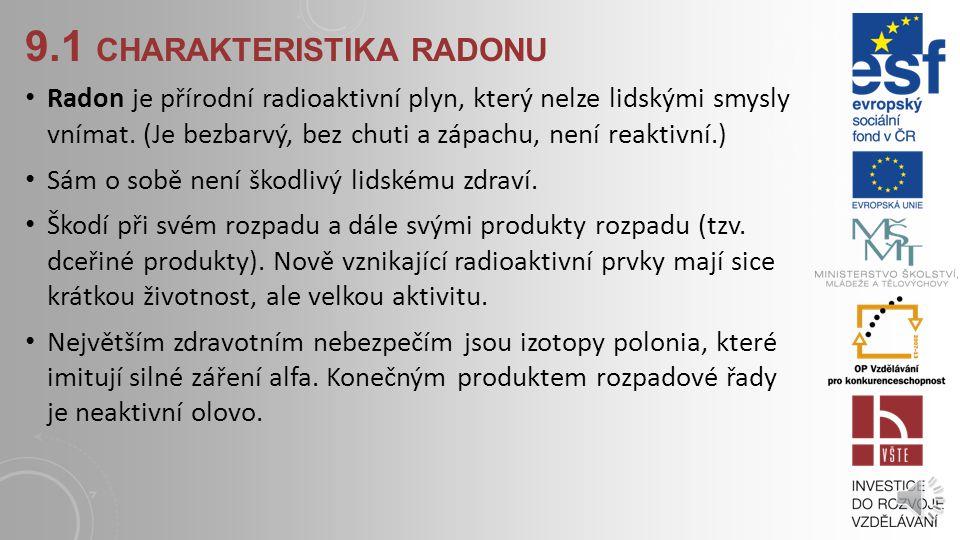 9.1 CHARAKTERISTIKA RADONU Radioaktivita: přírodní a uměle vytvořená Nejvyšší podíl přírodních zdrojů působících na člověka – vdechování radonu Radon