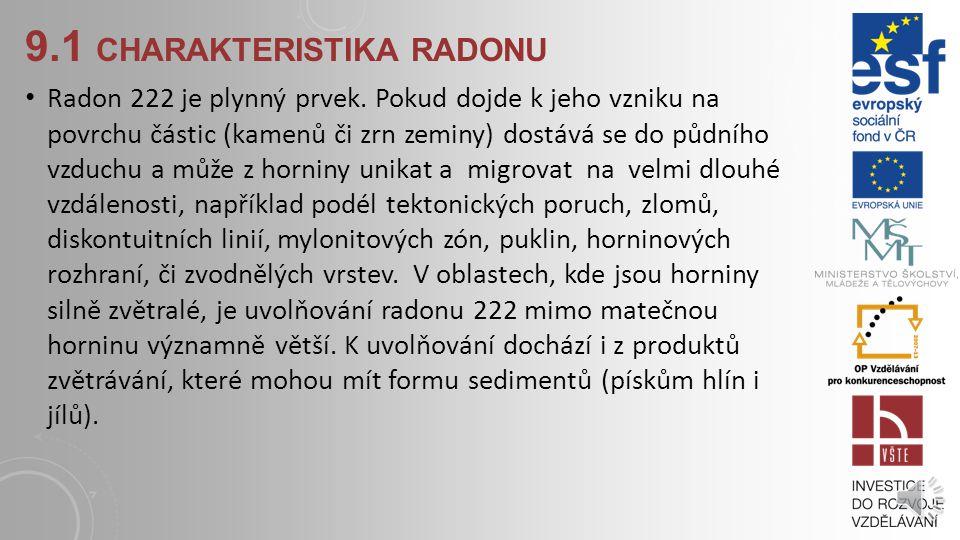 9.1 CHARAKTERISTIKA RADONU Radon 222 je plynný prvek.