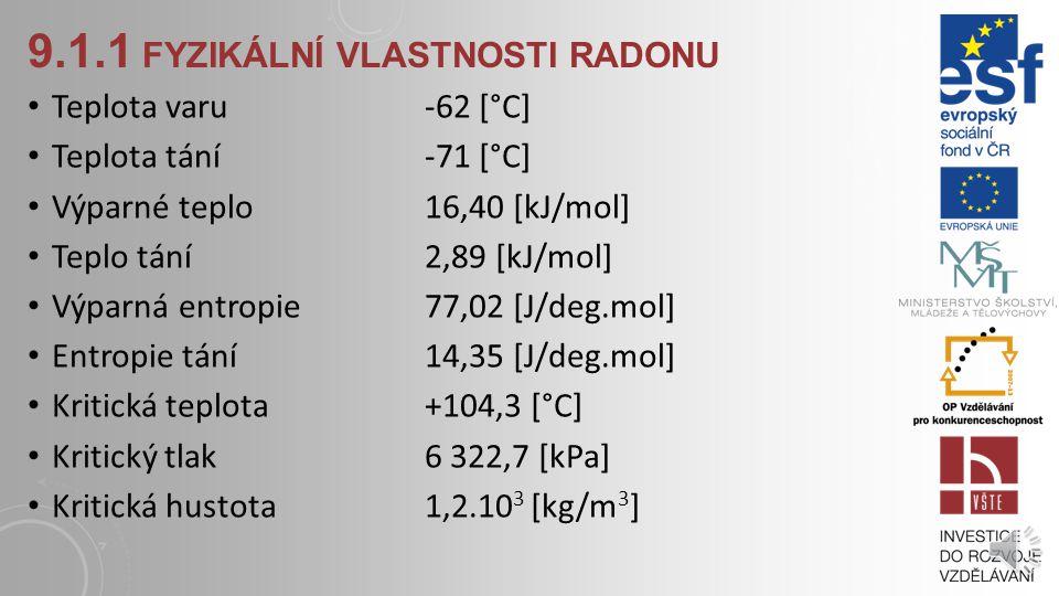 9.1.1 FYZIKÁLNÍ VLASTNOSTI RADONU Teplota varu -62 [°C] Teplota tání -71 [°C] Výparné teplo 16,40 [kJ/mol] Teplo tání 2,89 [kJ/mol] Výparná entropie 77,02 [J/deg.mol] Entropie tání 14,35 [J/deg.mol] Kritická teplota +104,3 [°C] Kritický tlak 6 322,7 [kPa] Kritická hustota 1,2.10 3 [kg/m 3 ]
