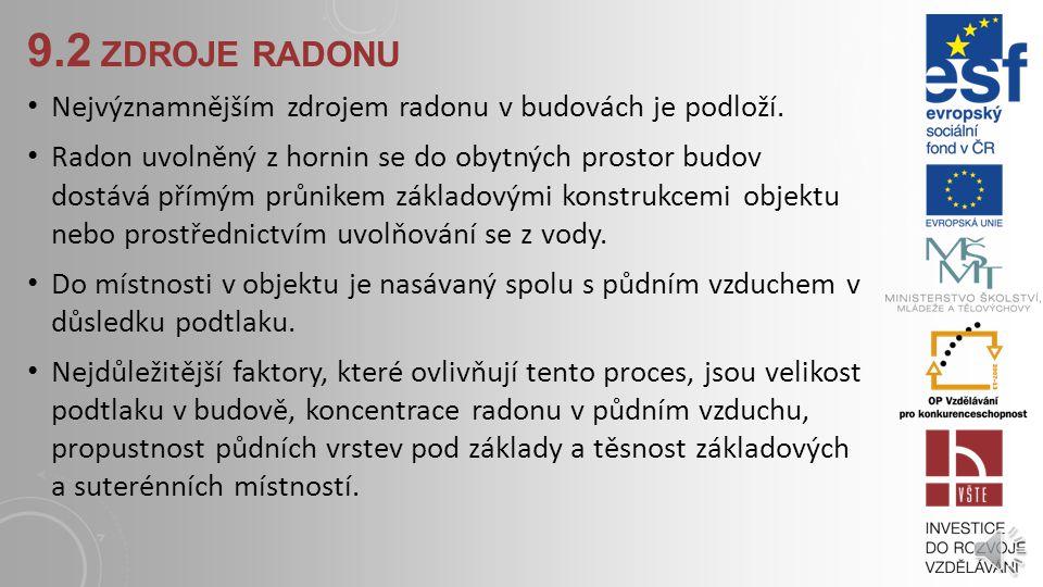 9.2 ZDROJE RADONU Nejvýznamnějším zdrojem radonu v budovách je podloží.
