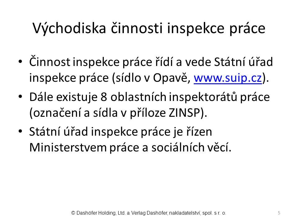 Východiska činnosti inspekce práce Činnost inspekce práce řídí a vede Státní úřad inspekce práce (sídlo v Opavě, www.suip.cz).www.suip.cz Dále existuj