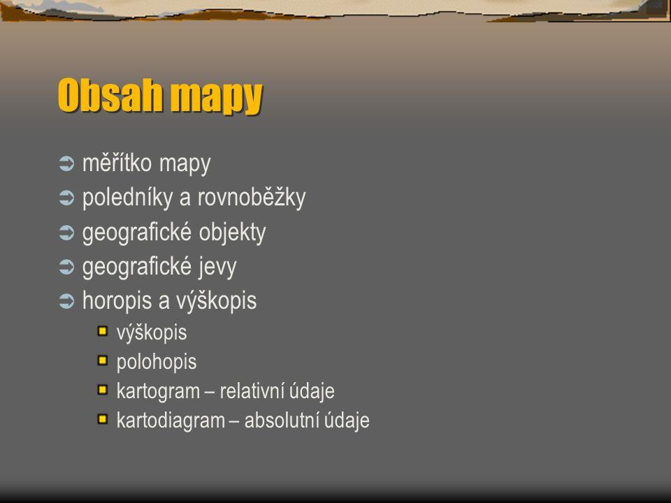 Obsah mapy  měřítko mapy  poledníky a rovnoběžky  geografické objekty  geografické jevy  horopis a výškopis polohopis kartogram – relativní údaje