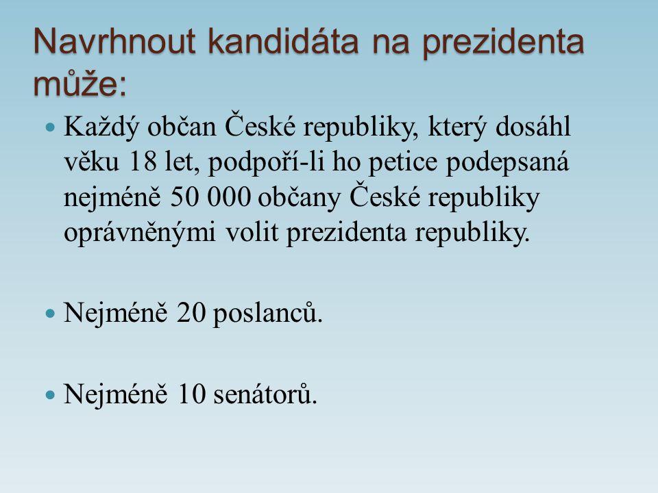 Navrhnout kandidáta na prezidenta může: Každý občan České republiky, který dosáhl věku 18 let, podpoří-li ho petice podepsaná nejméně 50 000 občany České republiky oprávněnými volit prezidenta republiky.