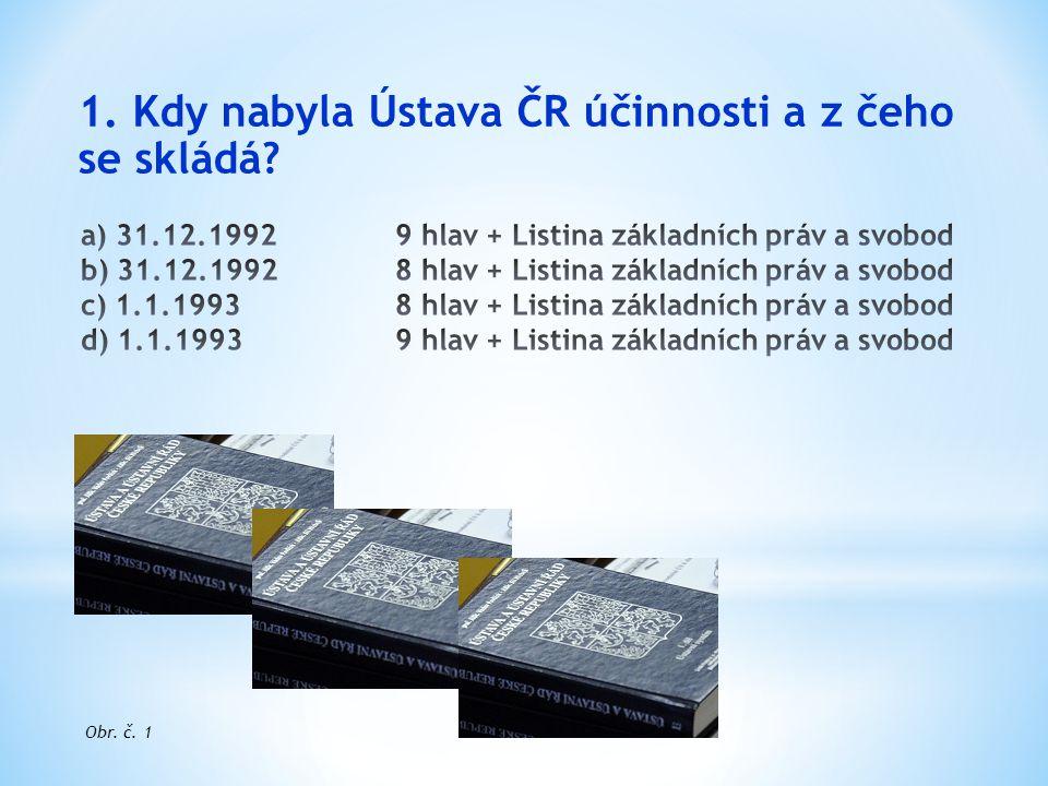 1. Kdy nabyla Ústava ČR účinnosti a z čeho se skládá? Obr. č. 1