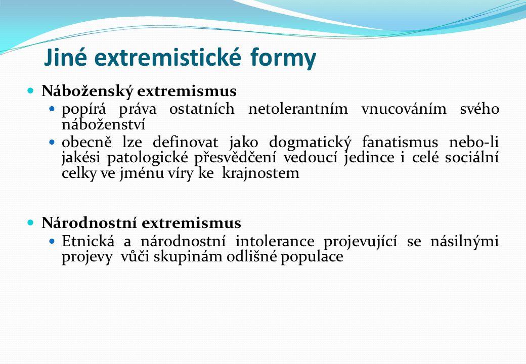 Jiné extremistické formy Náboženský extremismus popírá práva ostatních netolerantním vnucováním svého náboženství obecně lze definovat jako dogmatický