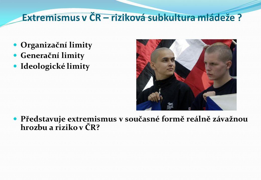 Extremismus v ČR – riziková subkultura mládeže ? Organizační limity Generační limity Ideologické limity Představuje extremismus v současné formě reáln