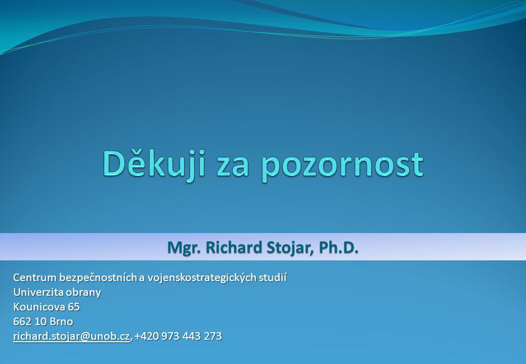 Mgr. Richard Stojar, Ph.D. Centrum bezpečnostních a vojenskostrategických studií Univerzita obrany Kounicova 65 662 10 Brno richard.stojar@unob.cz, +4