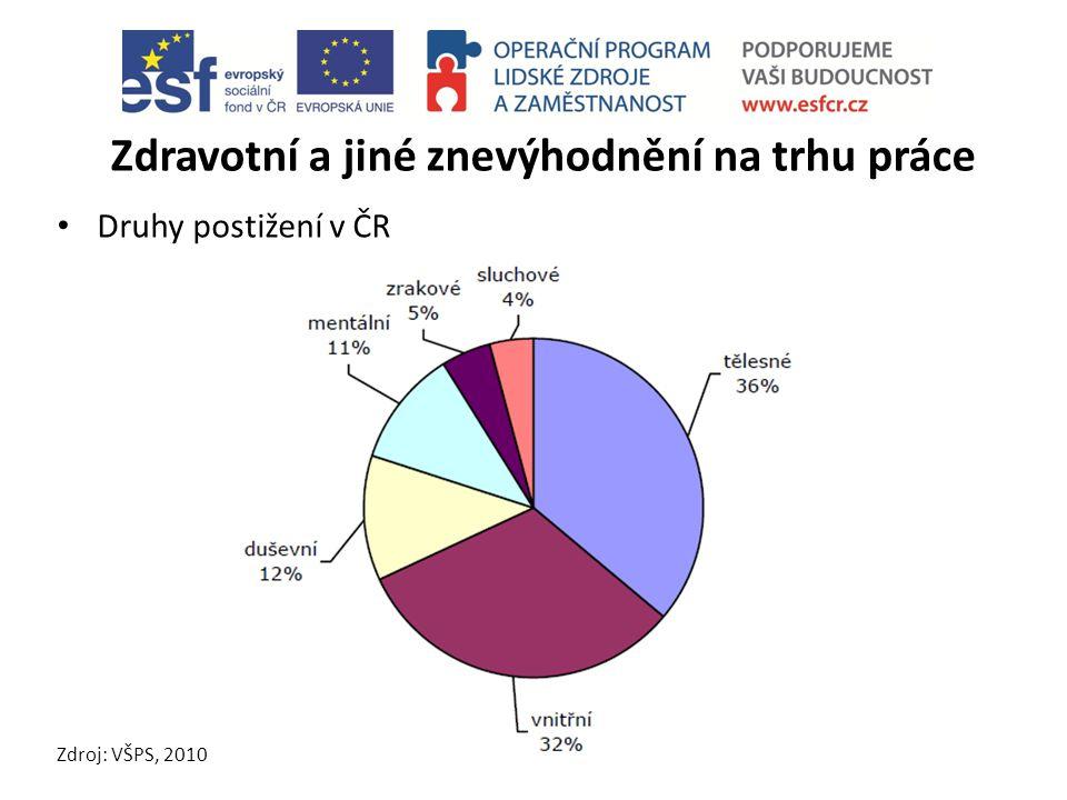 Zdravotní a jiné znevýhodnění na trhu práce Druhy postižení v ČR Zdroj: VŠPS, 2010