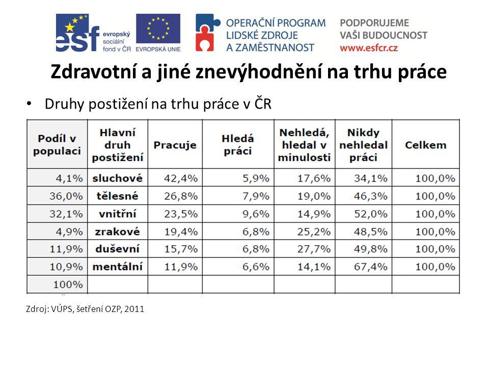 Zdravotní a jiné znevýhodnění na trhu práce Druhy postižení na trhu práce v ČR Zdroj: VÚPS, šetření OZP, 2011