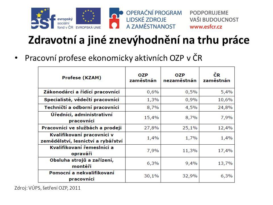 Zdravotní a jiné znevýhodnění na trhu práce Pracovní profese ekonomicky aktivních OZP v ČR Zdroj: VÚPS, šetření OZP, 2011