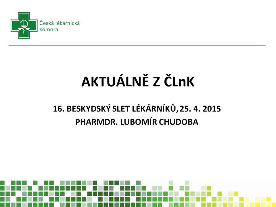 AKTUÁLNĚ Z ČLnK 16. BESKYDSKÝ SLET LÉKÁRNÍKŮ, 25. 4. 2015 PHARMDR. LUBOMÍR CHUDOBA