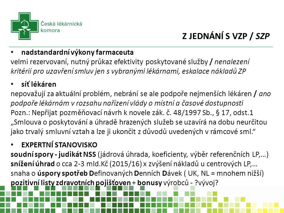 Z JEDNÁNÍ S VZP / SZP nadstandardní výkony farmaceuta velmi rezervovaní, nutný průkaz efektivity poskytované služby / nenalezení kritérií pro uzavření