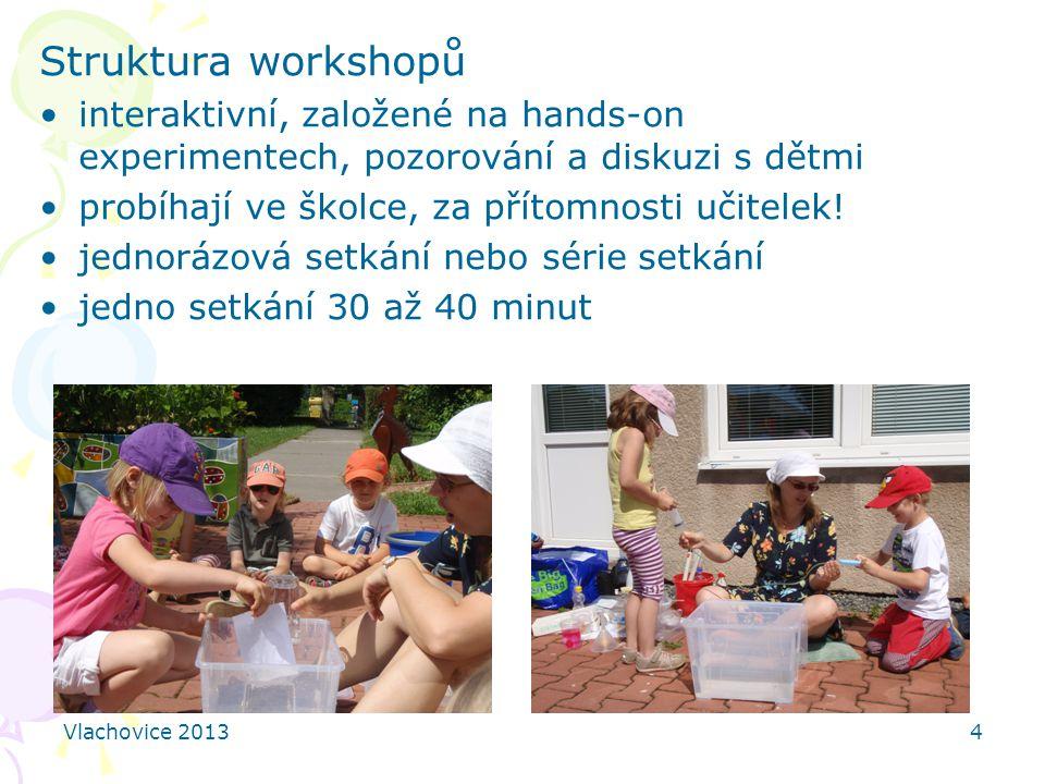 Vlachovice 20134 Struktura workshopů interaktivní, založené na hands-on experimentech, pozorování a diskuzi s dětmi probíhají ve školce, za přítomnost
