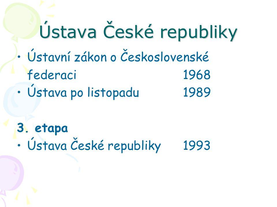 Ústava České republiky Ústavní zákon o Československé federaci1968 Ústava po listopadu 1989 3. etapa Ústava České republiky1993