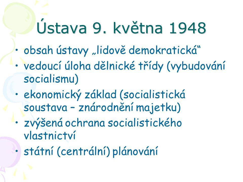 """Ústava 9. května 1948 obsah ústavy """"lidově demokratická"""" vedoucí úloha dělnické třídy (vybudování socialismu) ekonomický základ (socialistická soustav"""