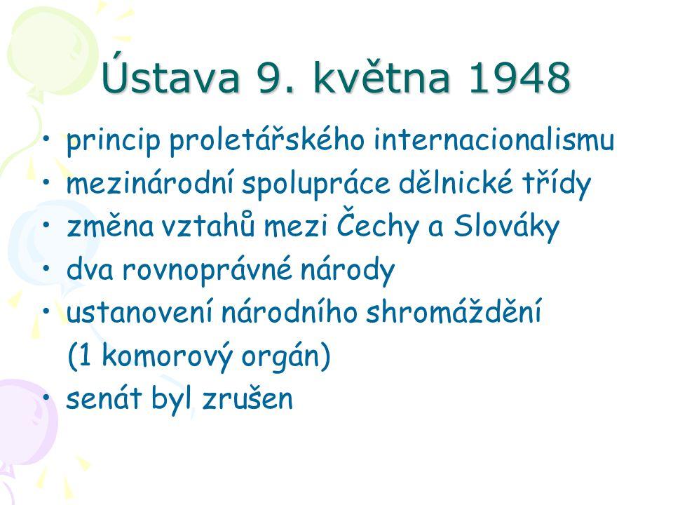 Ústava 9. května 1948 princip proletářského internacionalismu mezinárodní spolupráce dělnické třídy změna vztahů mezi Čechy a Slováky dva rovnoprávné