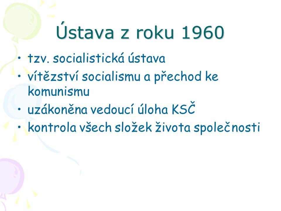 Ústava z roku 1960 tzv. socialistická ústava vítězství socialismu a přechod ke komunismu uzákoněna vedoucí úloha KSČ kontrola všech složek života spol