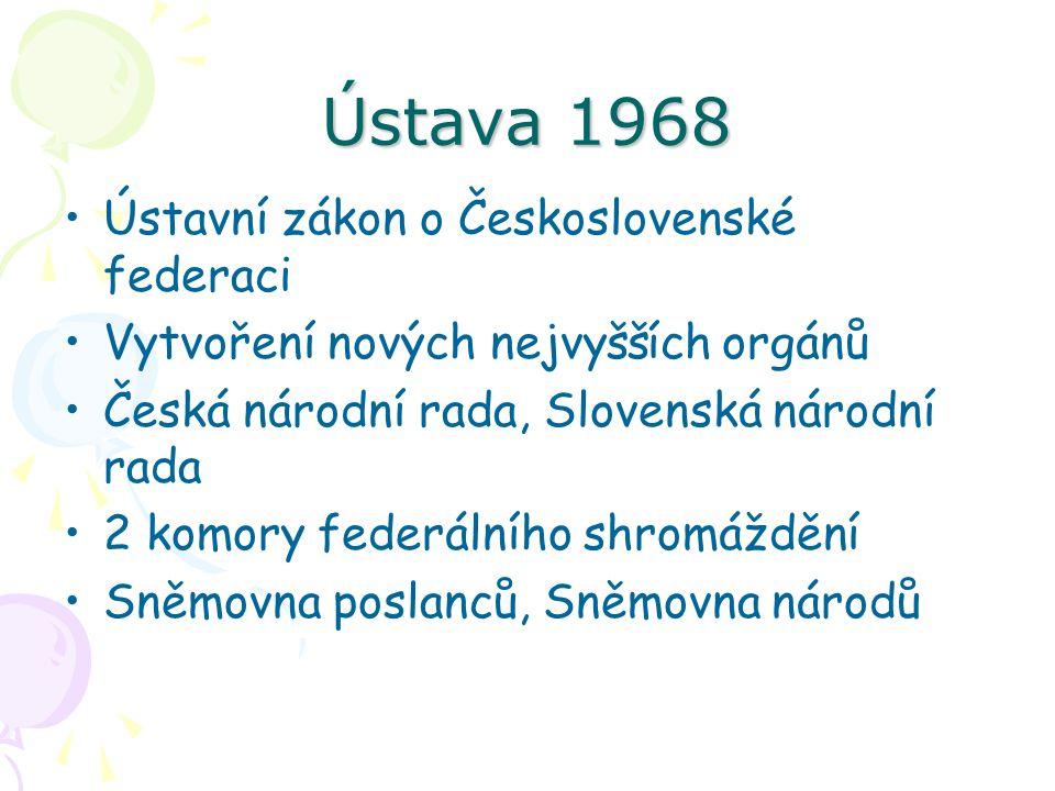 Ústava 1968 Ústavní zákon o Československé federaci Vytvoření nových nejvyšších orgánů Česká národní rada, Slovenská národní rada 2 komory federálního