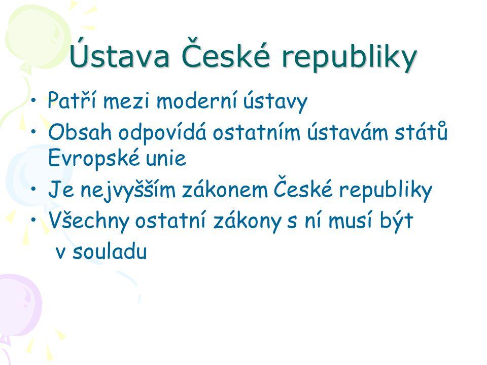 Ústava České republiky Patří mezi moderní ústavy Obsah odpovídá ostatním ústavám států Evropské unie Je nejvyšším zákonem České republiky Všechny osta