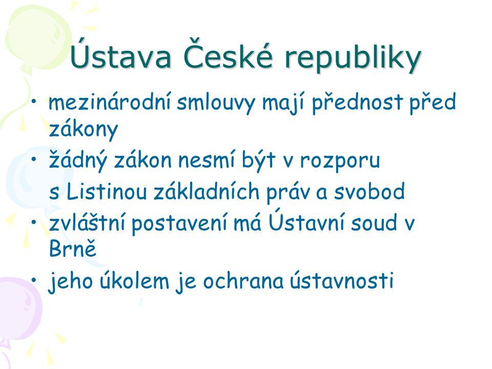 Ústava České republiky mezinárodní smlouvy mají přednost před zákony žádný zákon nesmí být v rozporu s Listinou základních práv a svobod zvláštní post