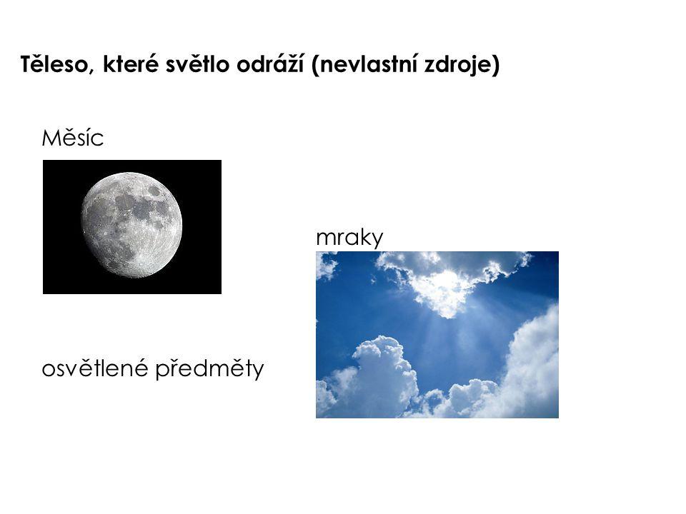 Těleso, které světlo odráží (nevlastní zdroje) Měsíc mraky osvětlené předměty