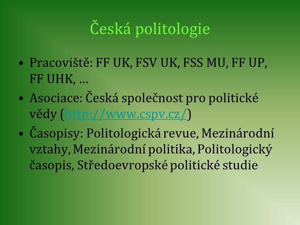 Česká politologie Pracoviště: FF UK, FSV UK, FSS MU, FF UP, FF UHK, … Asociace: Česká společnost pro politické vědy (http://www.cspv.cz/)http://www.cs